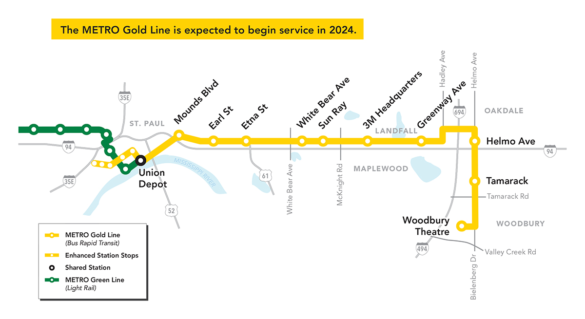 The Gold Line will travel from St. Paul to Woodbury and have ten new stations.