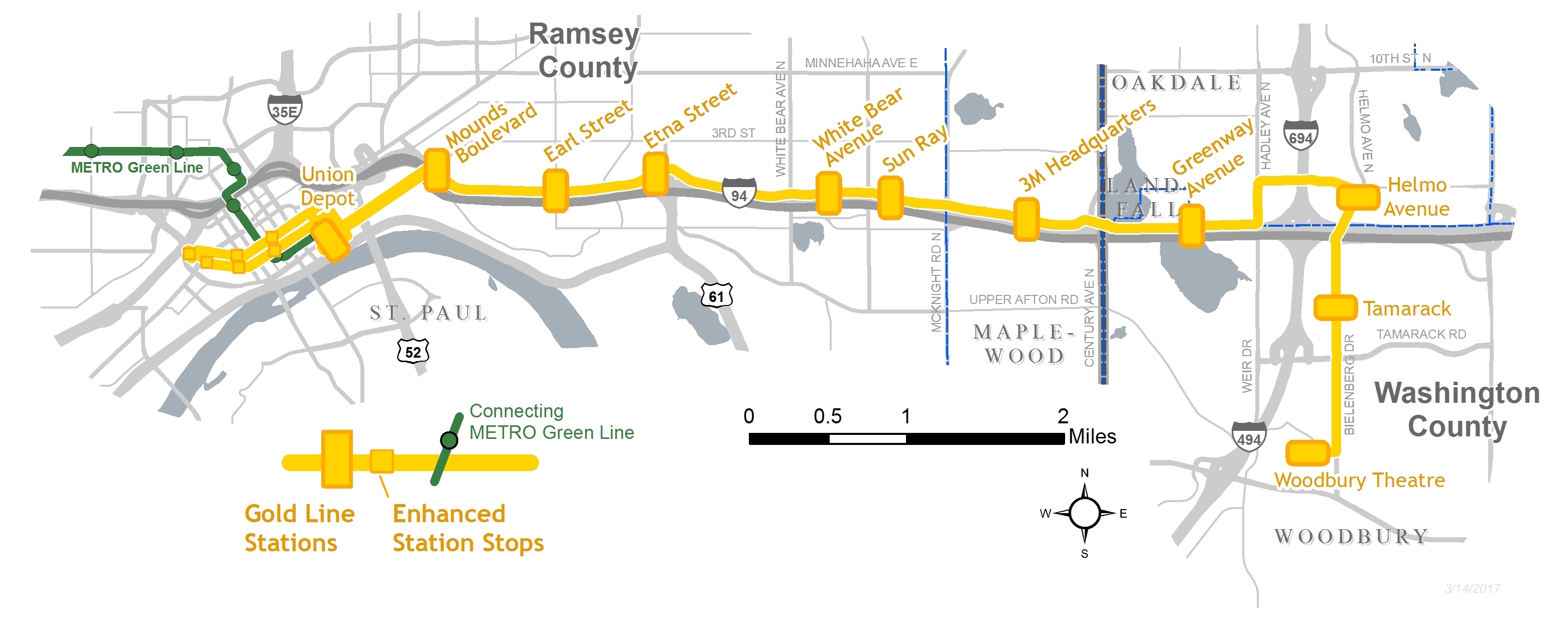 Gold Line Map Gold Line Route   Metro Transit
