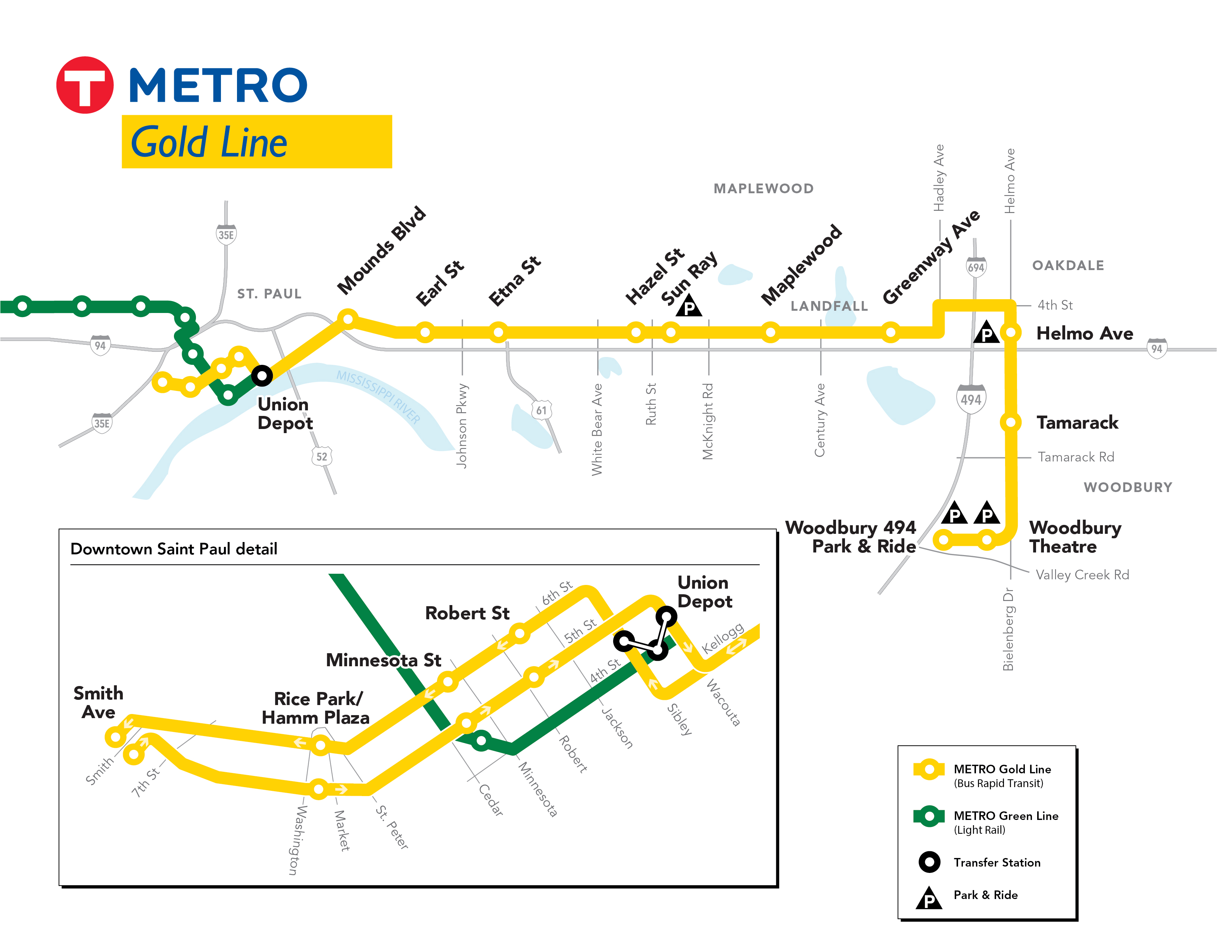 The Gold Line will travel from St. Paul to Woodbury and have 21 stations.