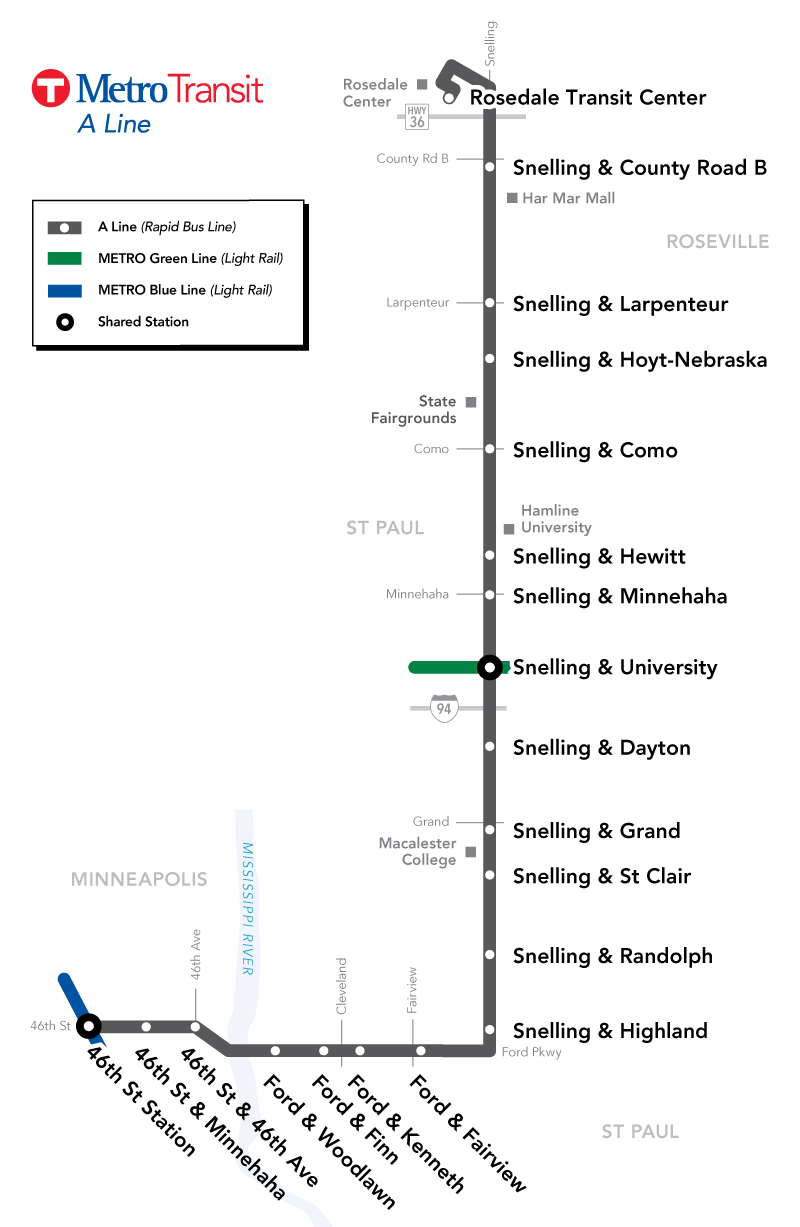 A Line Route Map