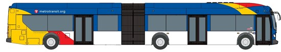 Image of a D Line rapid bus