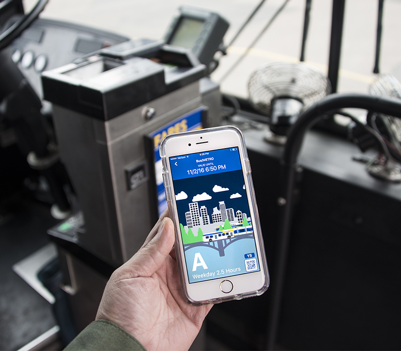 Metro Transit app in use on a bus