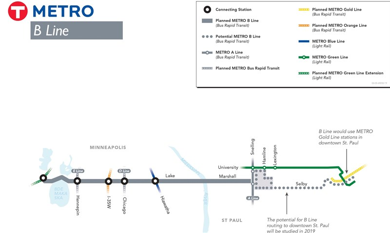 B Line map image showing route from West Lake Station to downtown St. Paul