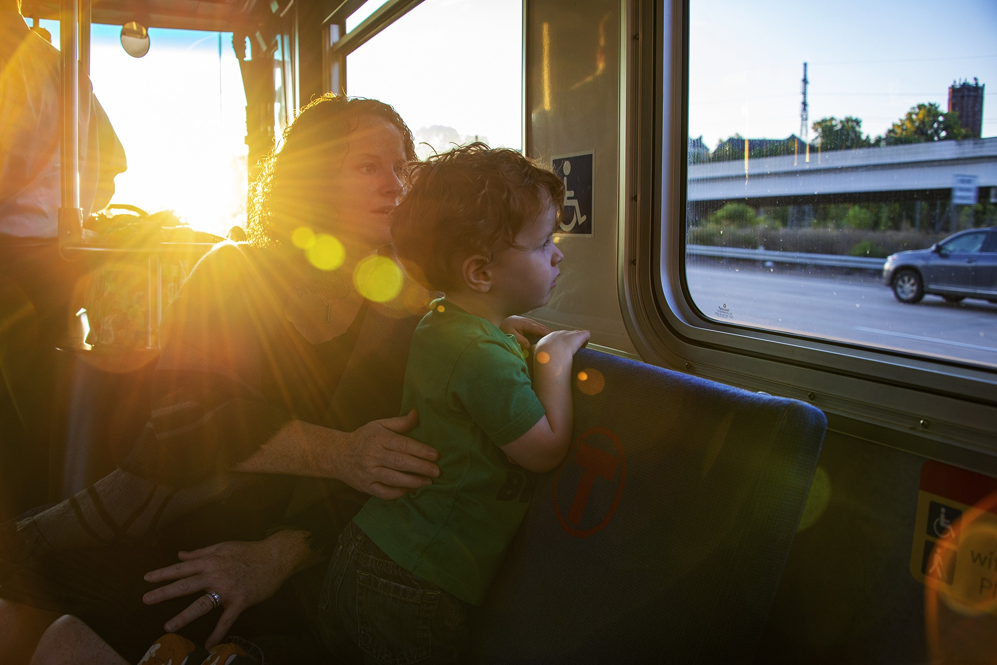 Terry Crunk and her son Finn, riding Route 758 during a recent commute to downtown Minneapolis.