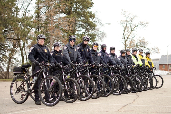 The Metro Transit Police Department's Bike Patrol poses during a training at Fort Snelling.