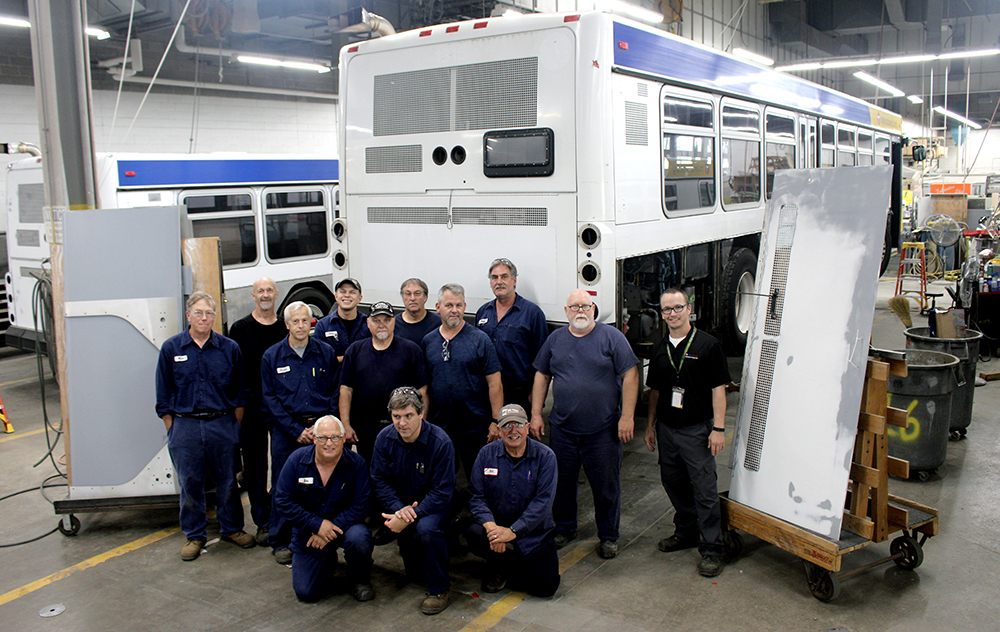 Technicians in Metro Transit's Overhaul Base perform mid-life maintenance on all buses so they look like new throughout their service life.