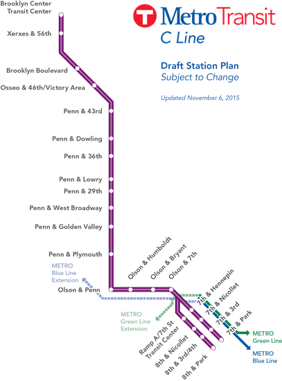 A draft station plan for the C Line.