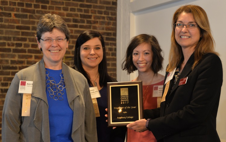 Beth Reissenweber, far right, with colleagues from Augsburg University at the 2017 Commuter Choice Awards