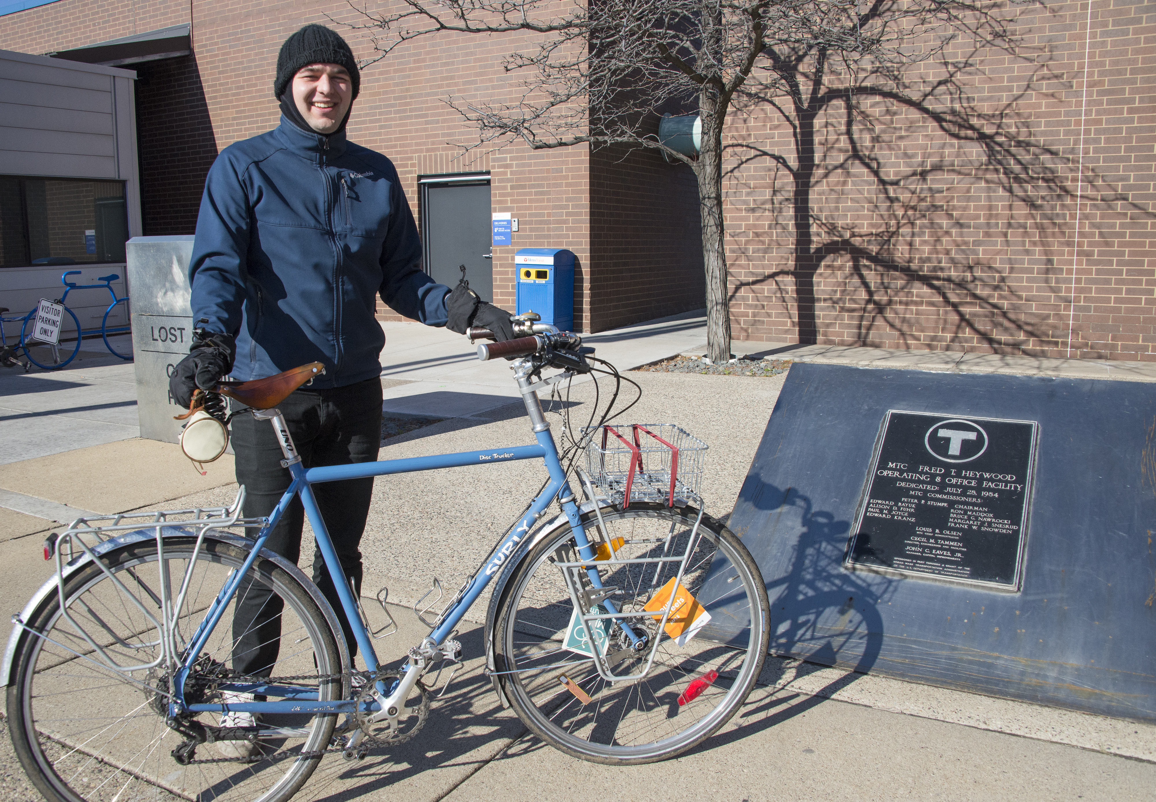 Jared Fette, Transit Information Center Representative, with his bike at the Heywood Office building in Minneapolis.