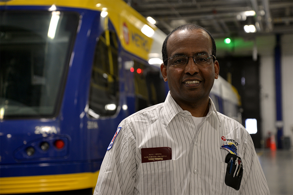 Train Operator DJ Gonte at the Green Line's Operations & Maintenance Facility in St. Paul.