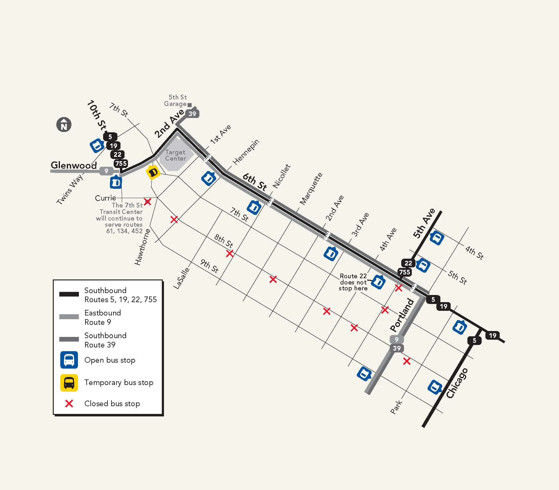 Map of the 8th Street bus stops that will close beginning March 9, and where buses will stop on 6th Street.