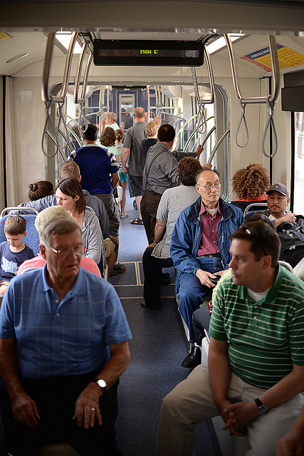 Customers riding the METRO Green Line.