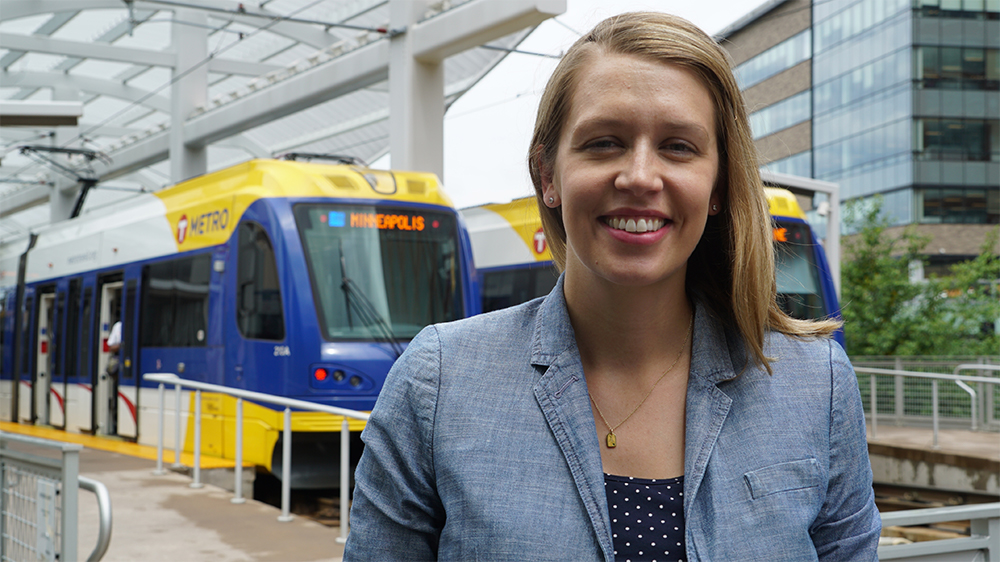 Joan Hollick, Interim Director-New Starts Projects, at Target Field Station in Minneapolis.