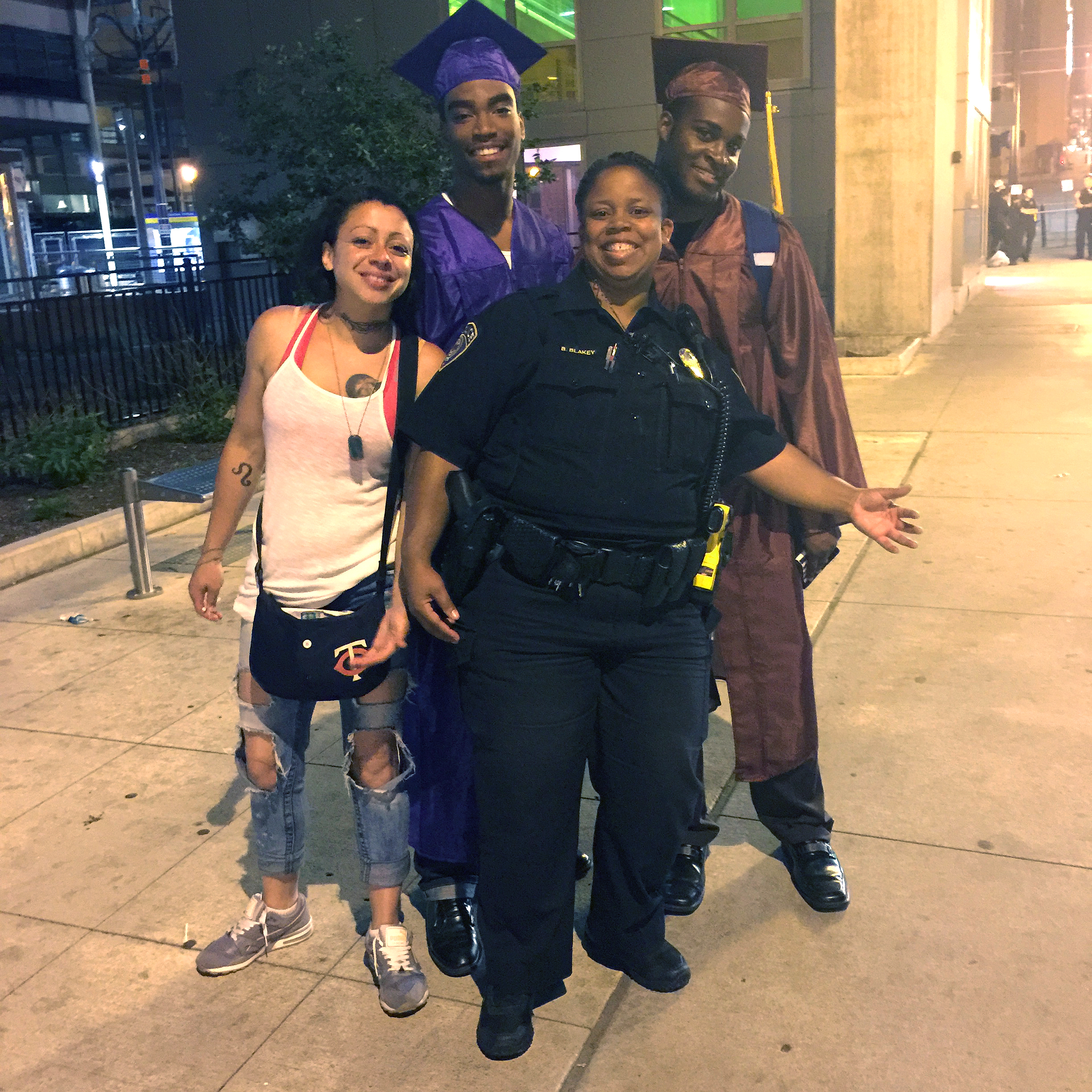 Metro Transit officer Brooke Blakey with participants in the department's Youth Diversion Program.