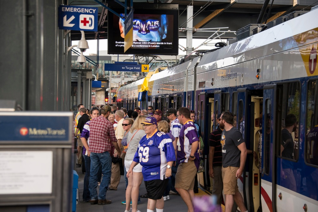 Fans exit Metro Transit's light rail at U.S. Bank Stadium Station in Minneapolis.