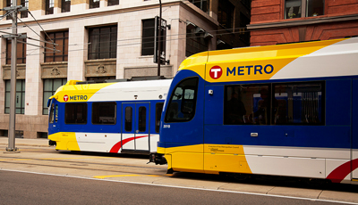 photo of new light rail vehicle in minneapolis
