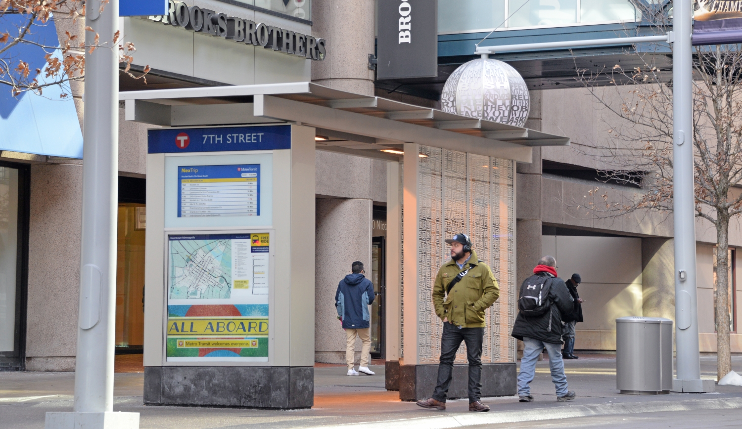 A bus shelter on Nicollet Mall includes heat, light and real-time signs.