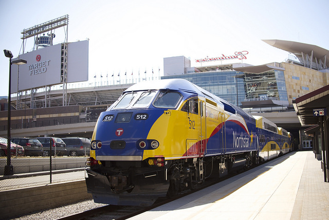 A Northstar train at Target Field Station in Minneapolis.