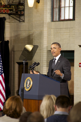 President Obama talks transportation at Union Depot.