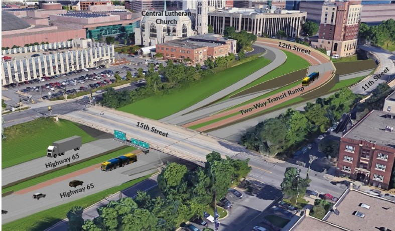 A transit-only access ramp will allow buses to avoid congestion entering and exiting downtown Minneapolis as they travel to or from Interstate 35W.