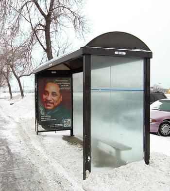 photo bus shelter not owned by metro transit
