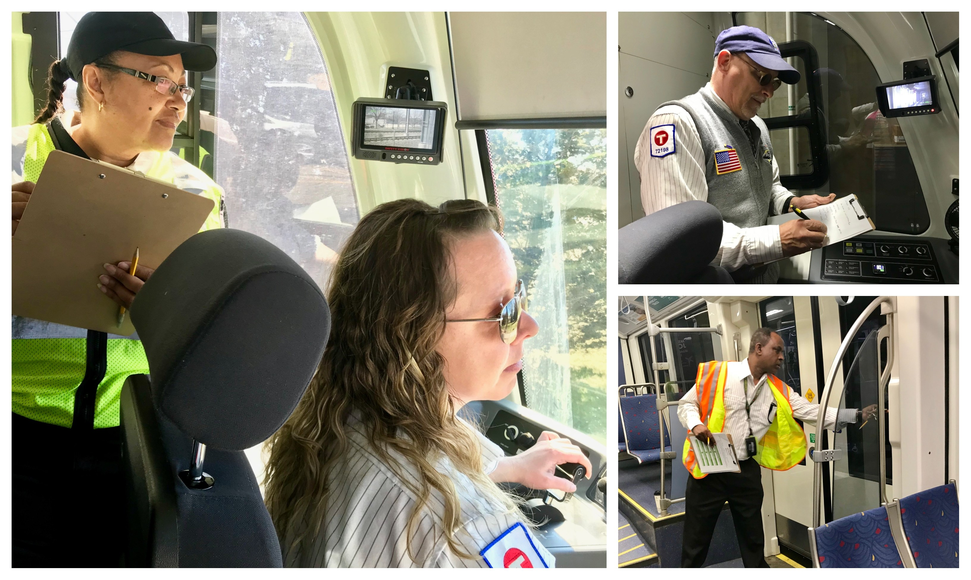 Rail Supervisor Connie Skinner (top left) scores Train Operator Sarah Gibson during Metro Transit's 2019 Rail Rodeo. Train Operators Joe Bretto (top right) and Mose Mahir (bottom right) perform pre-trip inspections during the contest.