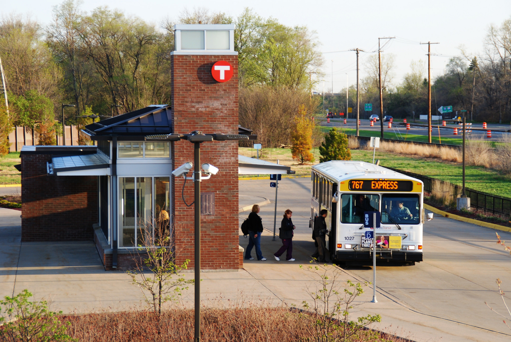 Customers board Route 767 at the Bottineau Blvd & 63rd Avenue Park & Ride.