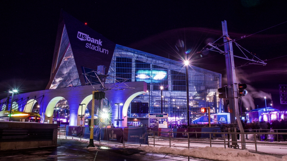 U.S. Bank Stadium Station, shortly before Super Bowl LII.