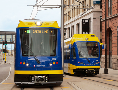 photo of new light rail vehicle siemens minneapolis