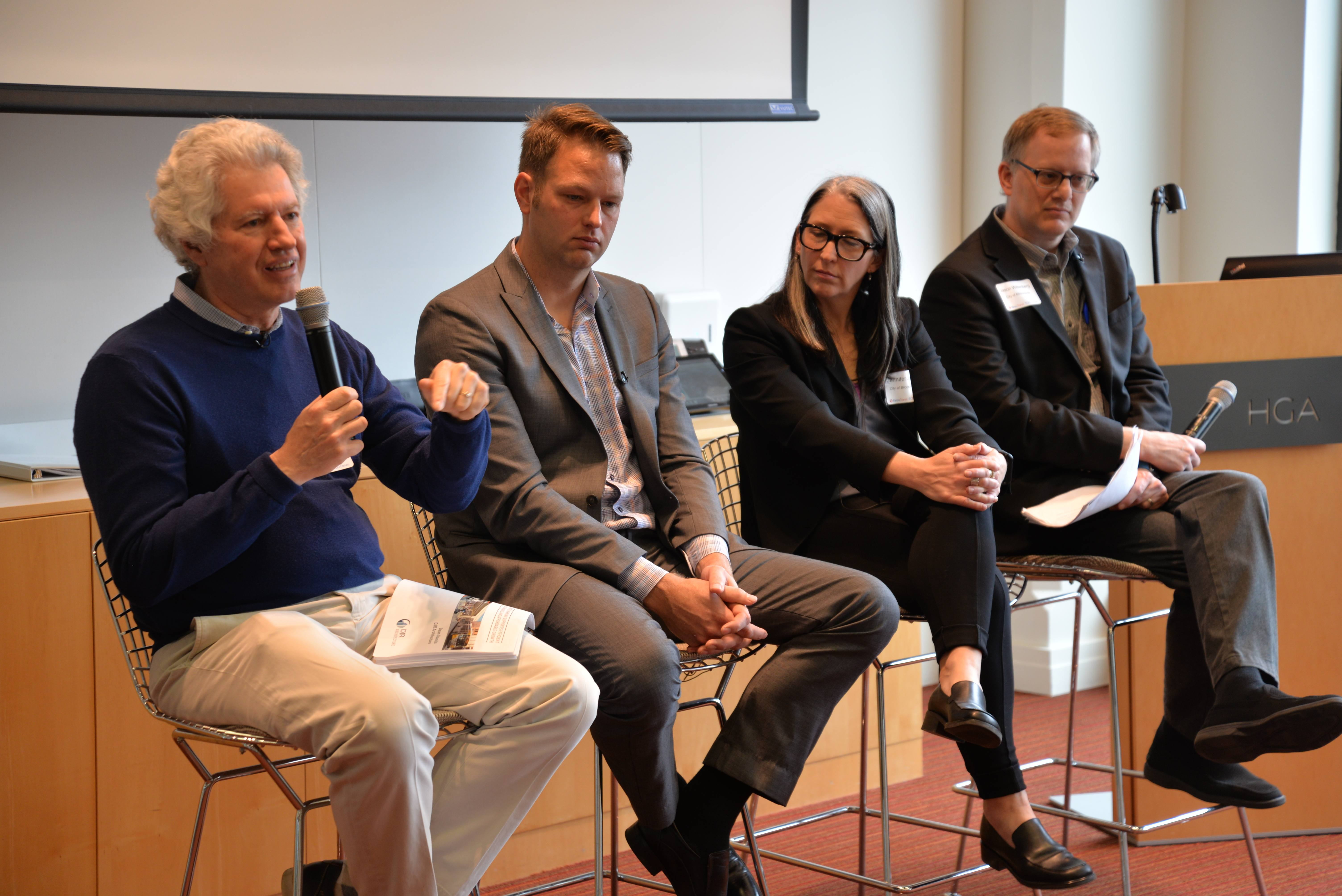 From left to right: Dean Dovolis, founder, CEO and principal at Minneapolis-based DJR Architecture, Inc.; Robb Lubenow, co-founder of Minneapolis-based Yellow Tree Development; Jennifer Jordan, Senior Project Manager for the City of Brooklyn; and Jason Wittenberg, the Manager of Land Use, Design and Preservation for the City of Minneapolis.