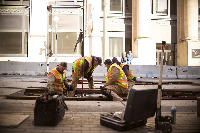 Track maintainers at work on the METRO Blue Line in downtown Minneapolis.