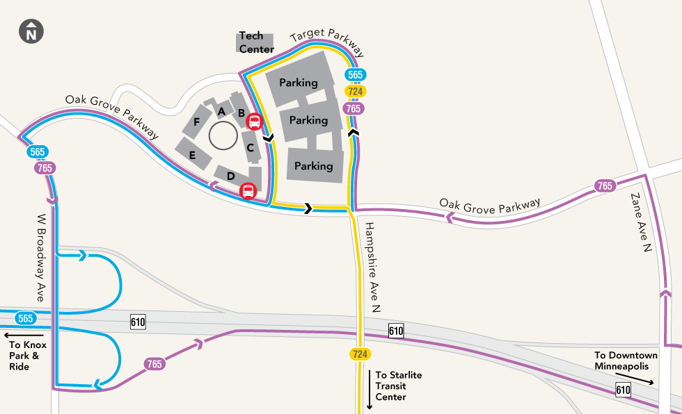 Routes serving Target North Campus