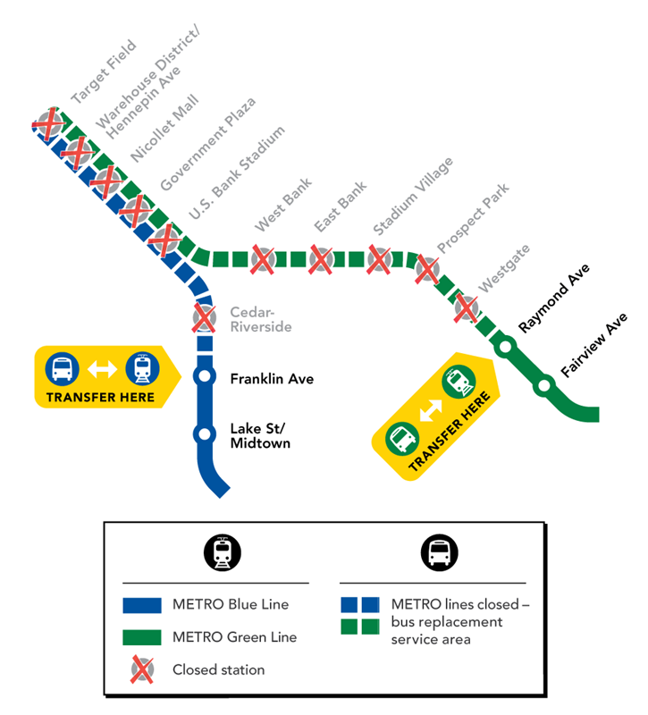 Light Rail Closure Map for Aug. 13-14. Blue Line Franklin Avenue to Target Field Station and Green Line is Raymond Avenue to Target Field Station.