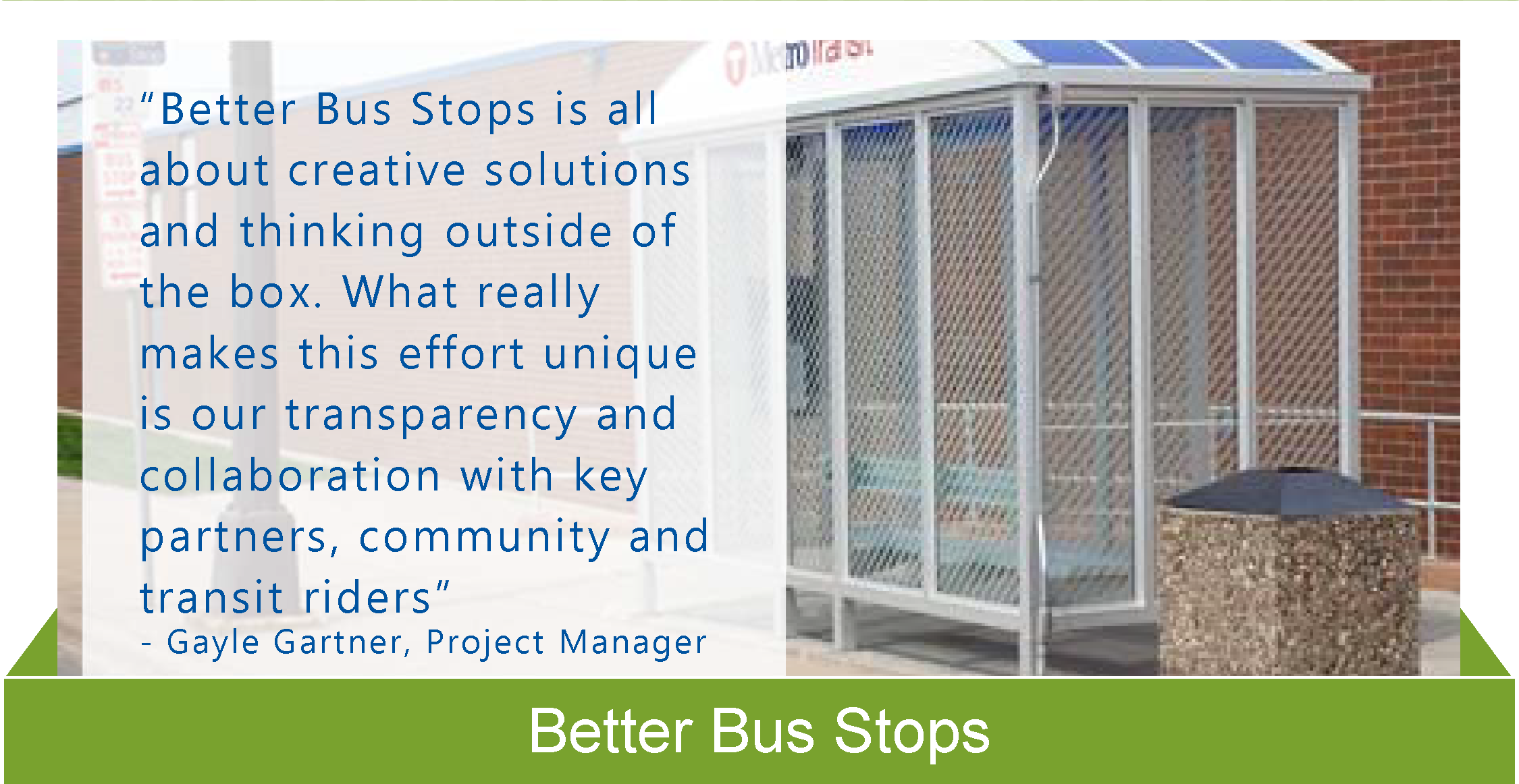 Better Bus Stops Equity in Action sheet