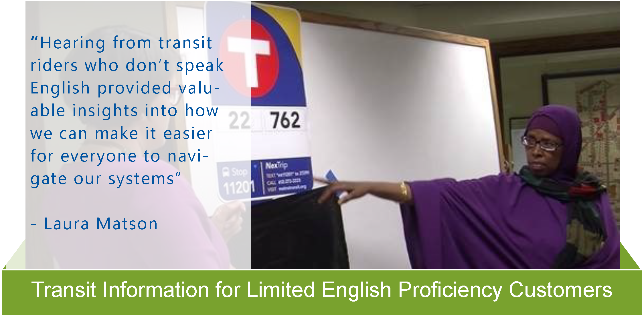 Transit Info for Limited English proficiency customers Equity in Action sheet