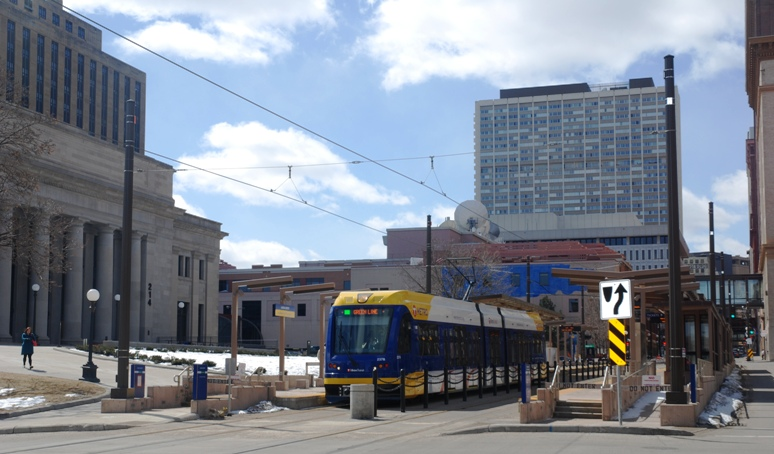 A METRO Green Line test train at Union Depot Station in Lowertown St. Paul.