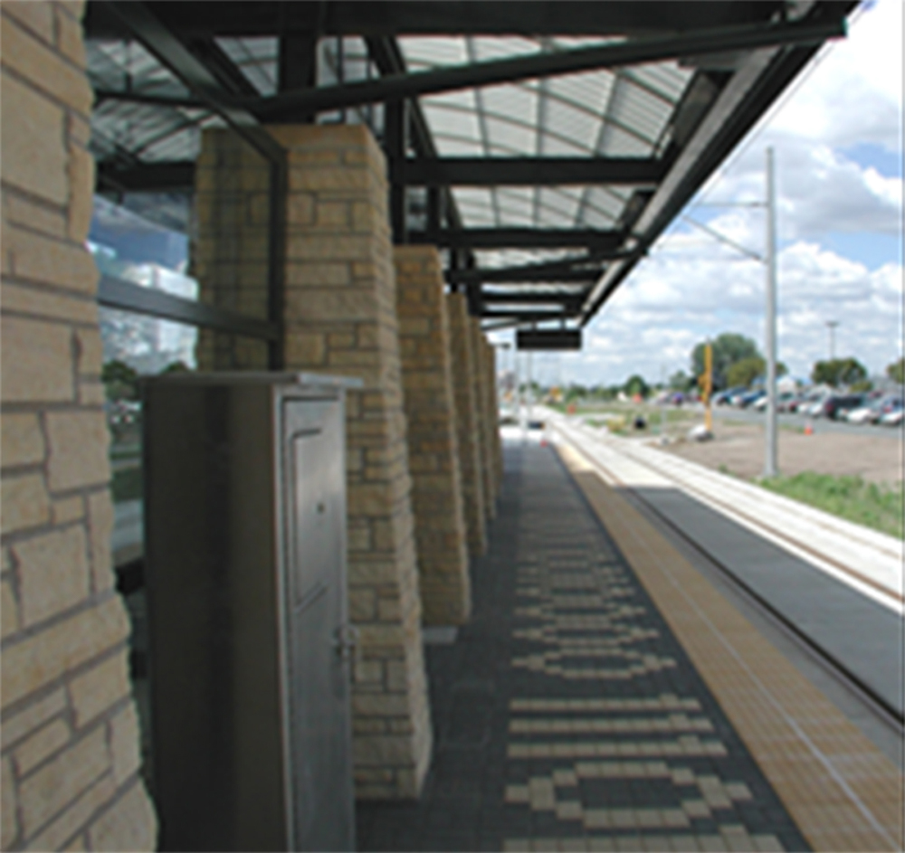 Image of public art at the METRO Blue Line BLoomington Central Station.
