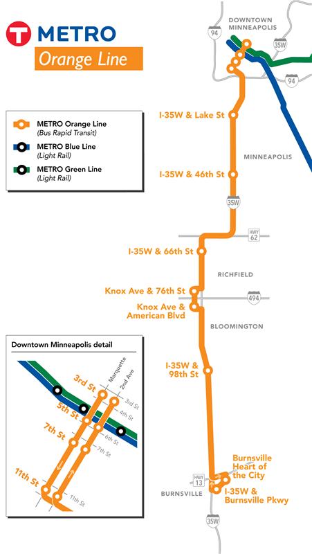 Minneapolis Subway Map.Metro Orange Line Metro Transit