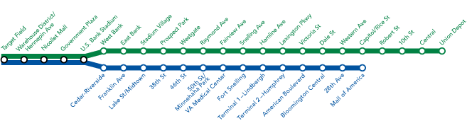 METRO Blue Line and Green Line map