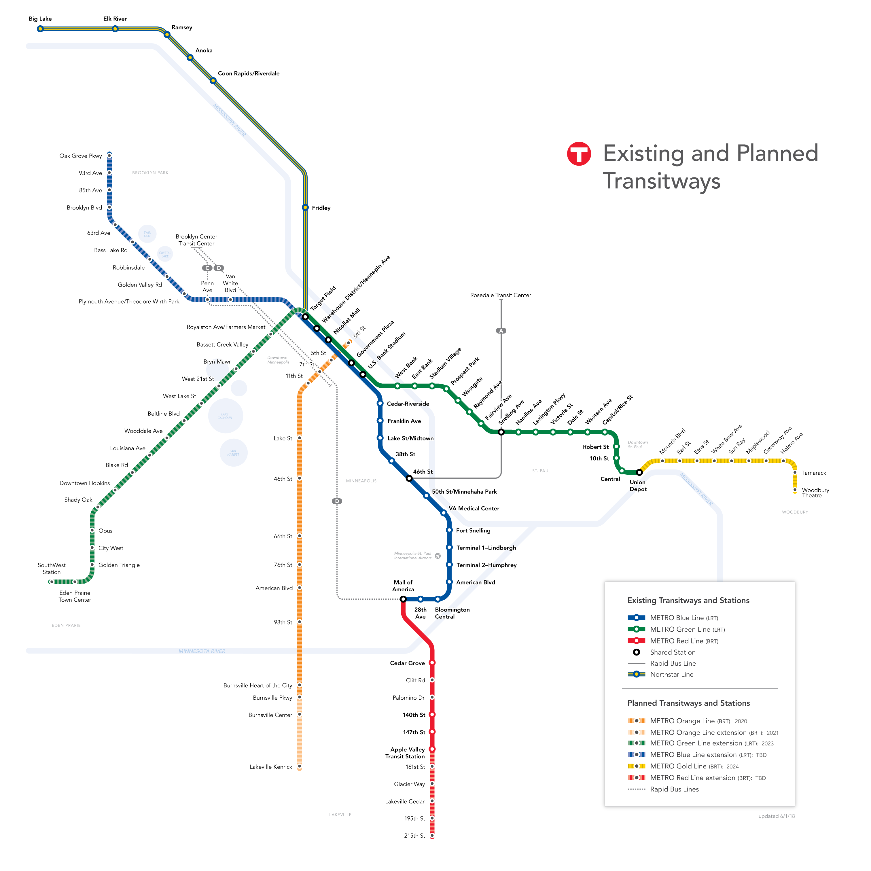 Transitways diagram map