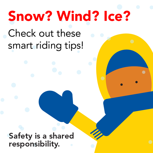 Snow? Wind? Ice? Check out these smart riding tips! Artwork of a person in a parka