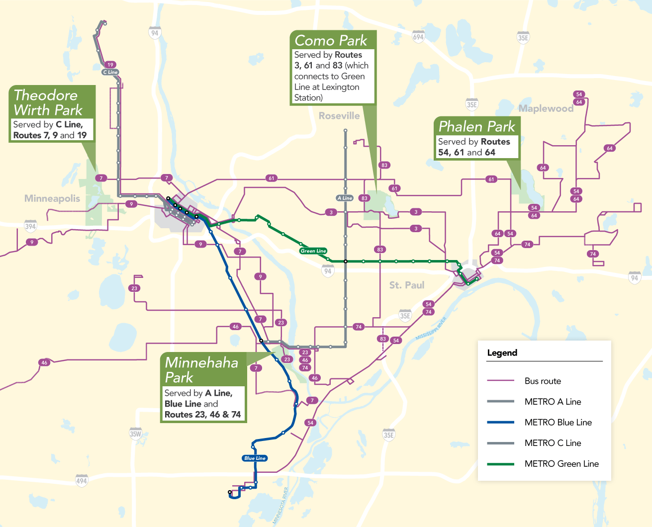 Map of parks that are participating in the Transit to Park Program.