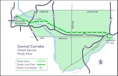 Map of Central Transit Study area