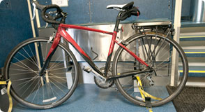 Bike secured on train