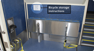 Bicycle storage instructions for train