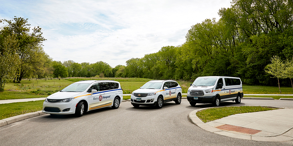 Photo of new vanpool vehicles.