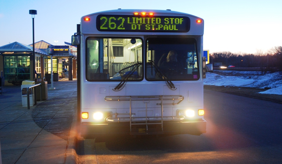 A Route 262 bus at the 95th Avenue Park & Ride in Blaine.