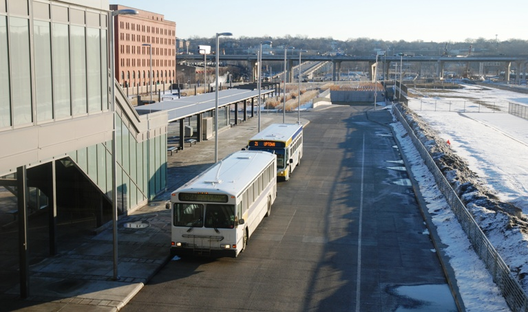 A Route 262 bus at Union Depot Transit Center in St. Paul.