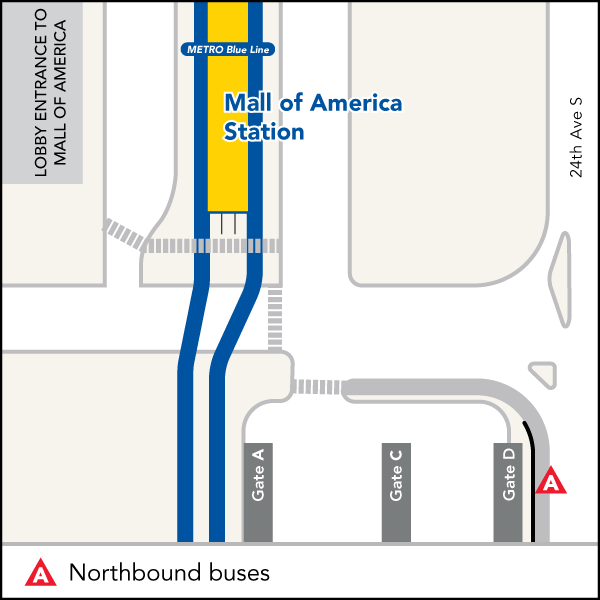 Board buses to Target Field at the temporary stop between the indoor waiting area and regular bus stops.