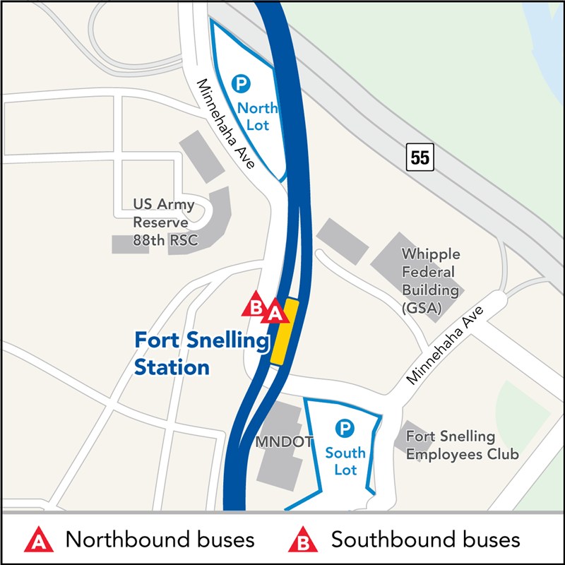 Board buses to Mall of America on southbound Minnehaha Ave across from Fort Snelling Station. Board buses to Target Field on northbound Minnehaha Ave at Fort Snelling Station.